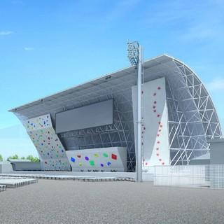 Die dreigeteilte Wettkampfwand im Aomi Urban Sports Park für Olympia 2021 in Tokio. Foto: Tokyo 2020