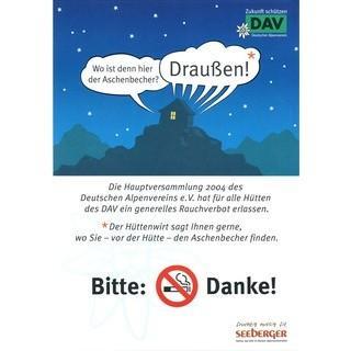 Rauchverbot auf Hütten. Plakat des Deutschen Alpenvereins, 2007. Archiv des DAV, München