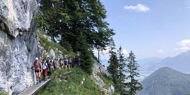 Der Aufstieg zum DAV-Brünnsteinhaus war abwechslungsreich und überzeugte mit atemberaubendem Bergpanorama. Foto: DAV / Roder.