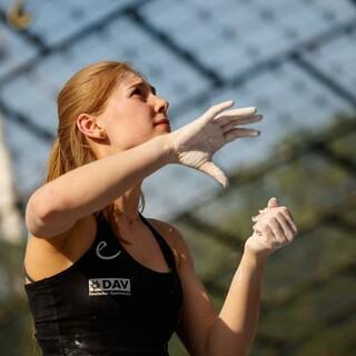 Hannah Meul startet beim ihrem letzten EYC; Foto: DAV/Marco Kost