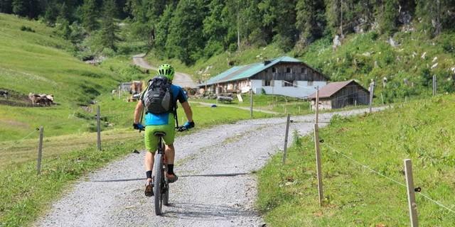 Etappe 3: Auffahrt zur Osterguntenalpe und zum Sattel am Diedamskopf.