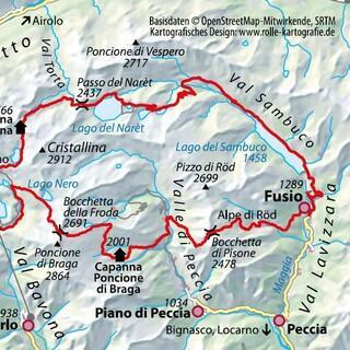 Karte: Trekking dei Laghetti Alpini, Quelle: Rolle-Kartografie